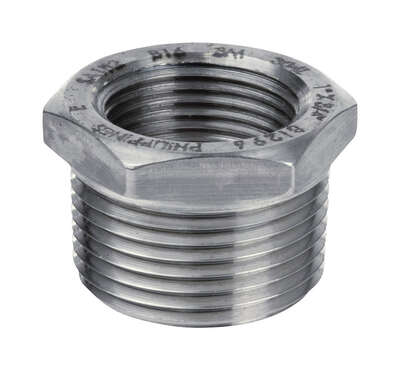 Smith-Cooper  1/2 in. MPT   x 1/4 in. Dia. FPT  Stainless Steel  Hex Bushing