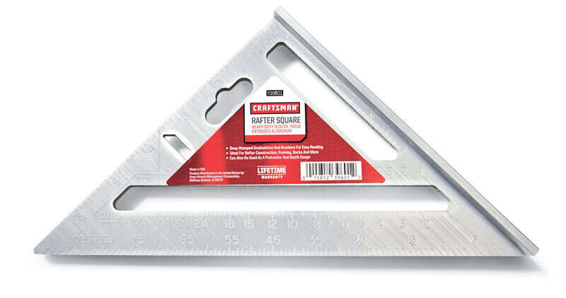 Craftsman  7 in.  L x .5 in. H x 7 in. H Aluminum  Rafter Angle Square  Gray
