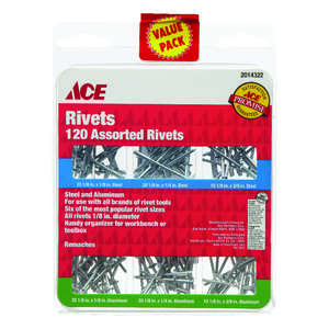 Ace  1/8  L Steel  1/8  Rivet Set  Silver  120 pk