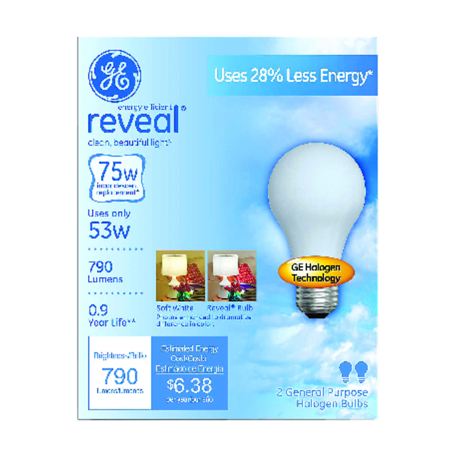 GE  Reveal  53 watts A19  Halogen Bulb  790 lumens Soft White  2 pk A-Line