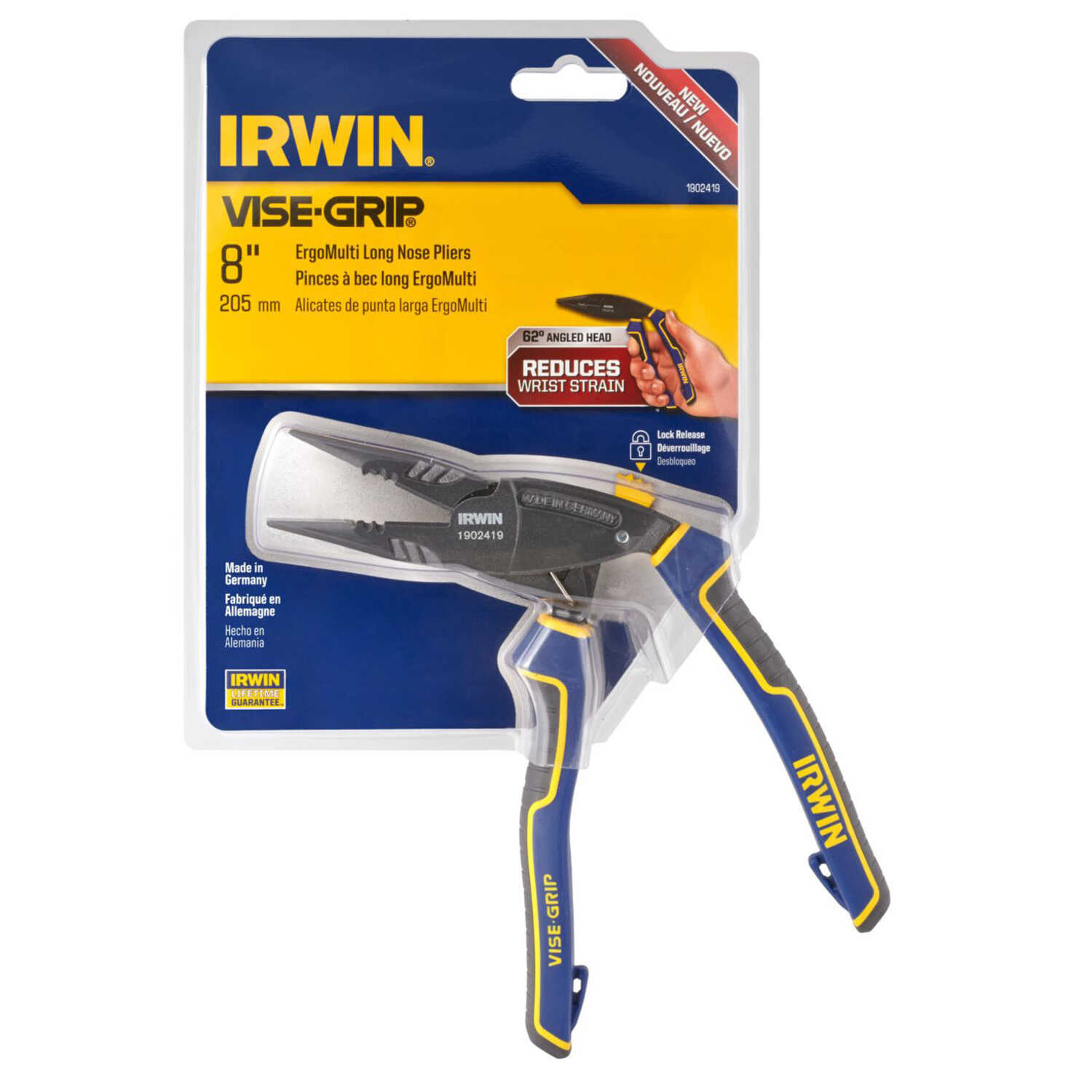 Irwin  8 in. Alloy Steel  Long Nose Pliers  Blue  1 pk