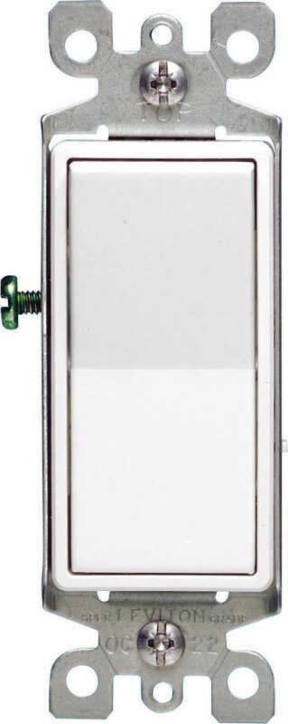 Leviton  Decora  15 amps Single Pole  Rocker  Switch  White  1 pk