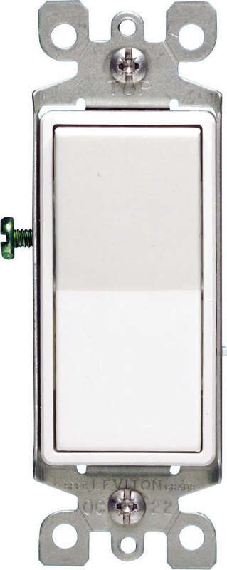 Leviton  Decora  15 amps Single Pole  Rocker  AC Quiet Switch  White  1 pk