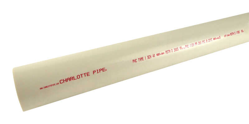 Charlotte Pipe  Schedule 40  PVC Pipe  5 ft. L x 1/2 in. Dia. Plain End  600 psi