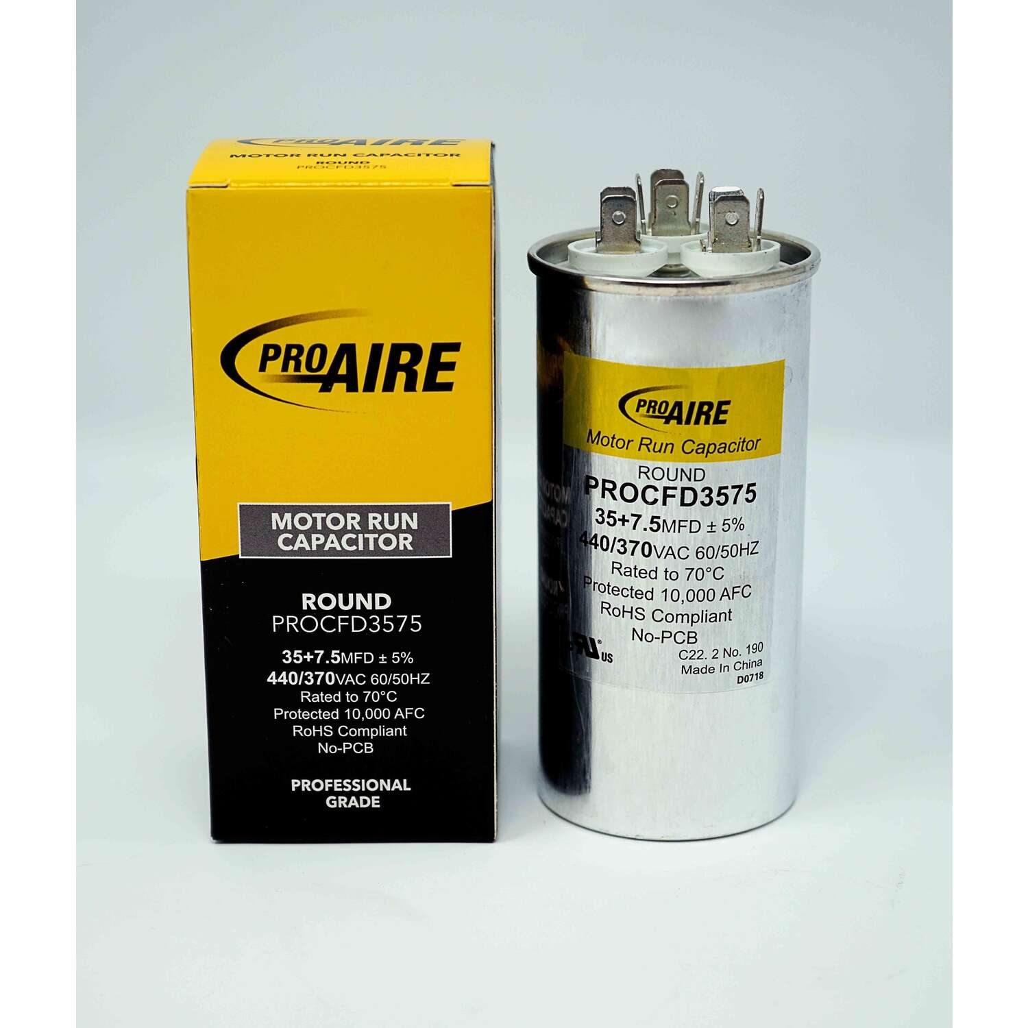 Perfect Aire  ProAire  35+7.5 MFD  370 volt Round Run Capacitor