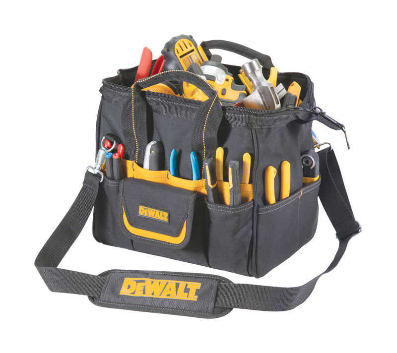 DEWALT By CLC  5.25 in. W x 11.75 in. H Polyester  Lighted Tool Bag  29 pocket Black/Yellow  1 pc.