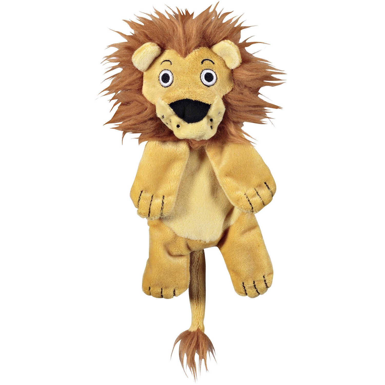 JW Pet  Beige  Crackle Heads Lion  Plush  Dog Toy  Medium