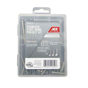 Ace  Assorted in.  x Assorted in. L Phillips  Oval Head Stainless Steel  Machine Screw Kit