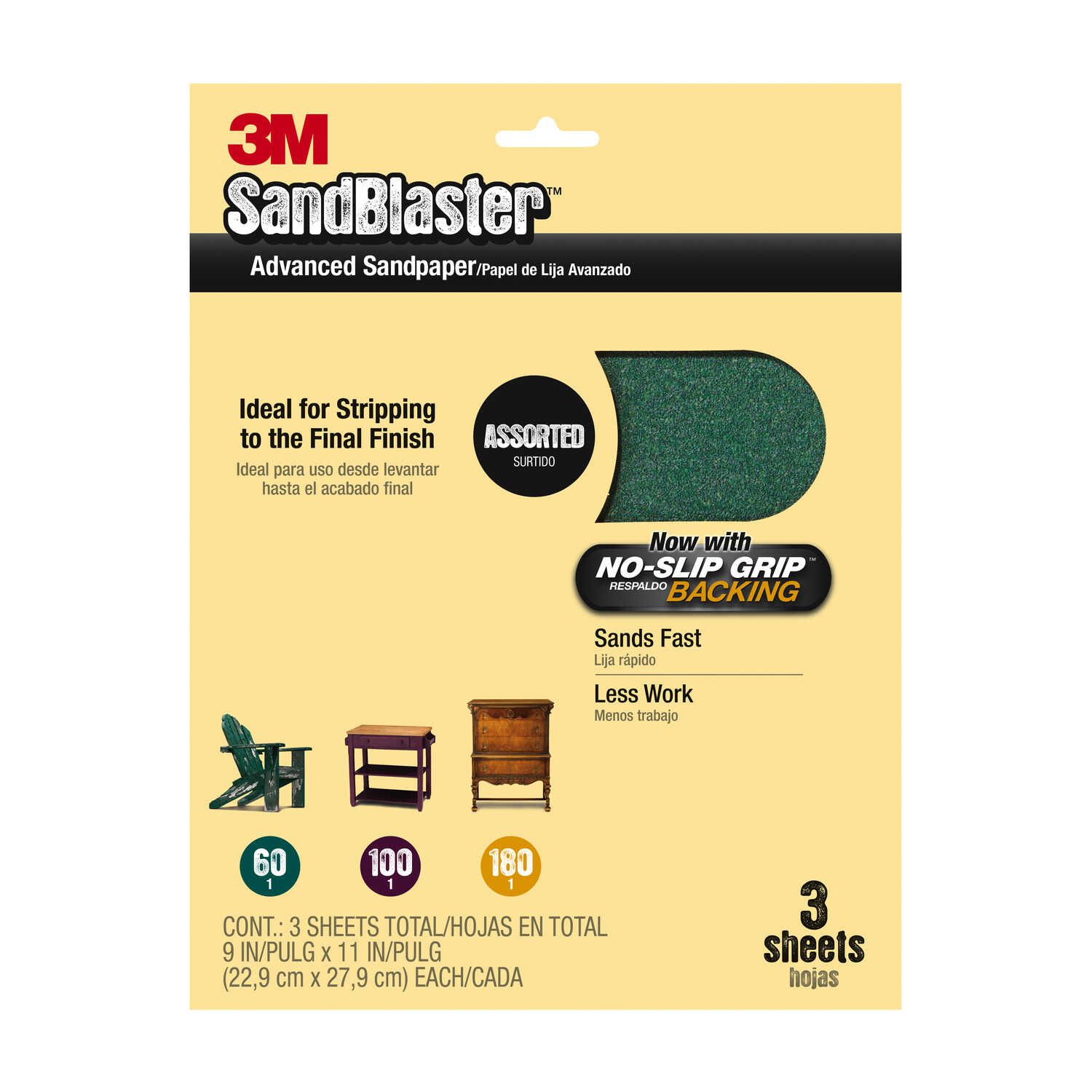 3M  Sandblaster  Sharp Synthetic Mineral  11 in. L x 11 in. L x 9 in. W Assorted Grit Ceramic  Assor