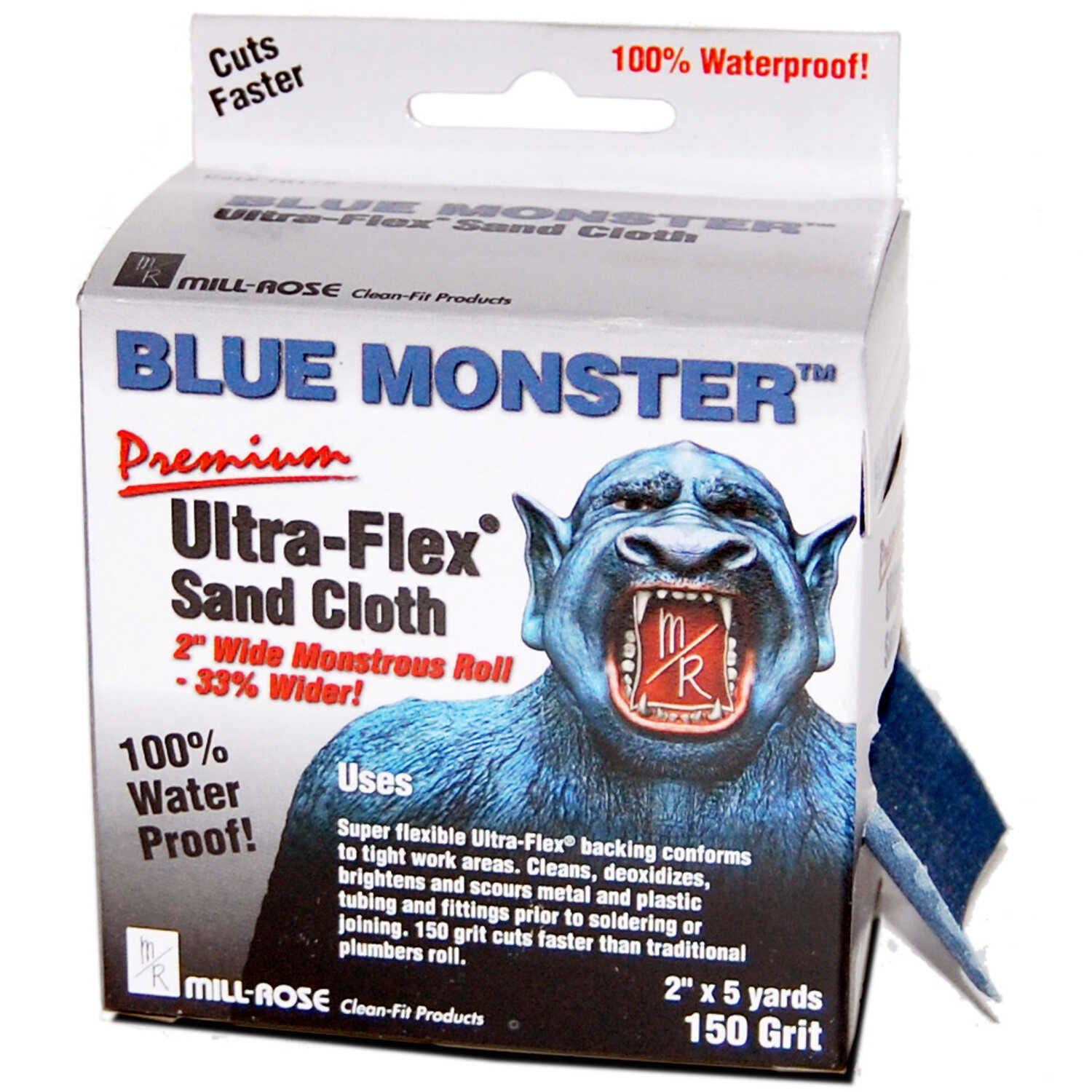 Mill Rose  Blue Monster Ultra-Flex  5 yd. L x 2 in. W 150 Grit Aluminum Oxide  Sanding Cloth  1 pk