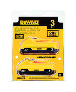 DeWalt  20 volt 3 Ah Lithium-Ion  Compact Battery Pack  2 pc.