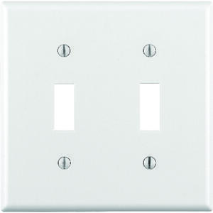 Leviton  White  2 gang Plastic  Toggle  Wall Plate  1 pk