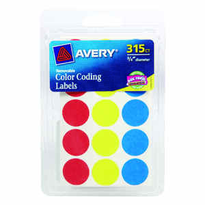 Avery  0.75 in. H x 3/4 in. W Assorted  Color Coding Label  315 pk