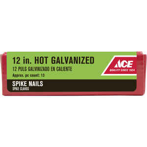 Ace  12 in. L Spike  Hot-Dipped Galvanized  Steel  Nail  Smooth Shank  Diamond  5 lb.
