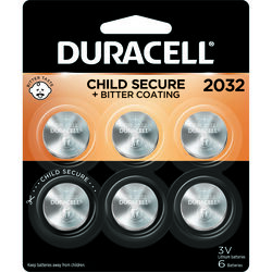 Duracell Lithium 2032 3 volt Electronic/Thermometer/Watch Battery 6 pk