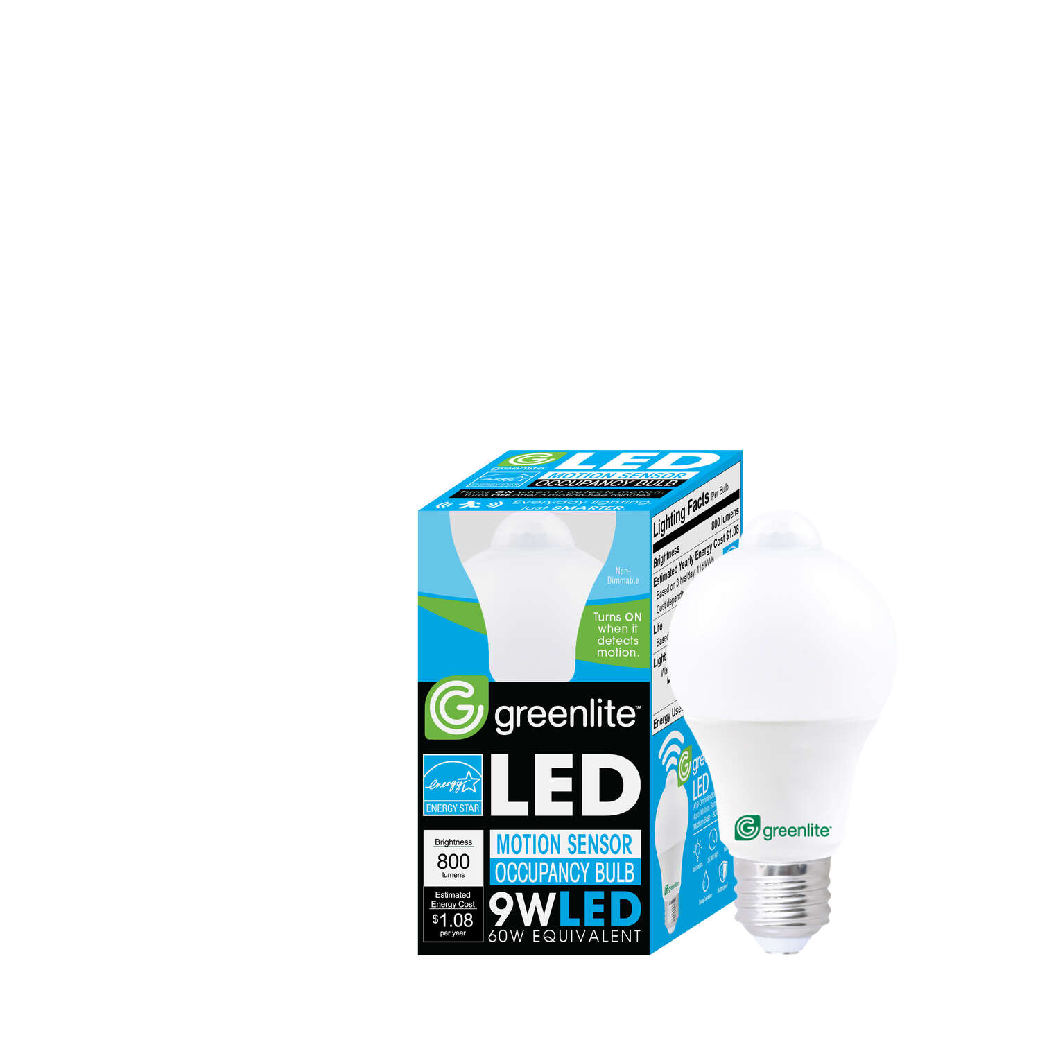 Greenlite  A19  E26 (Medium)  LED Motion Activated Bulb  Bright White  60 Watt Equivalence 1 pk