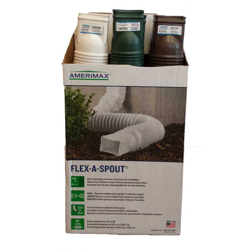 Amerimax  Flex-A-Spout  4.5 in. H x 4.5 in. W x 25.5 in. L Vinyl  Downspout Extension
