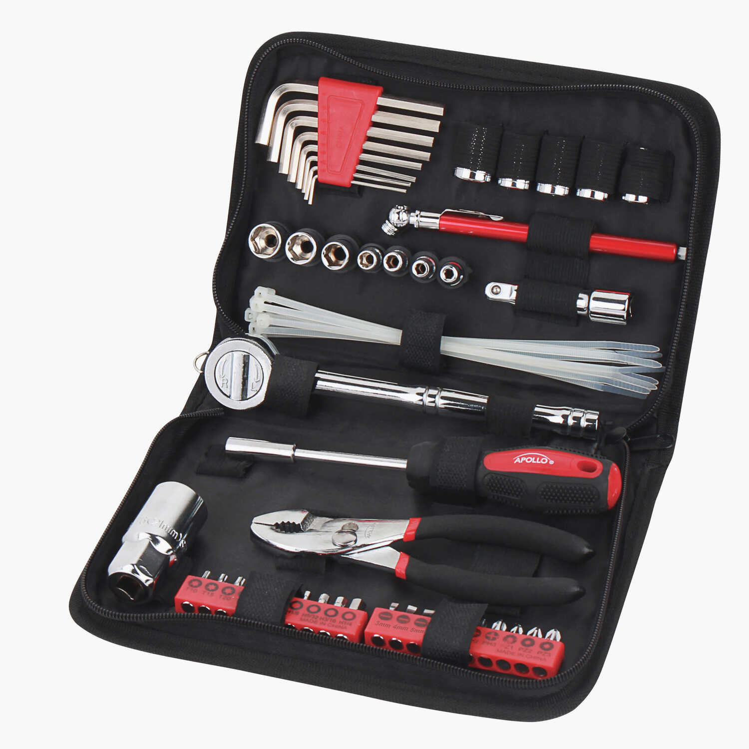 Apollo  56 pc. Auto Tool Kit  Black