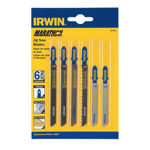 Irwin  4 in. Carbon Steel  T-Shank  Jig Saw Blade Set  Assorted TPI 6 pk