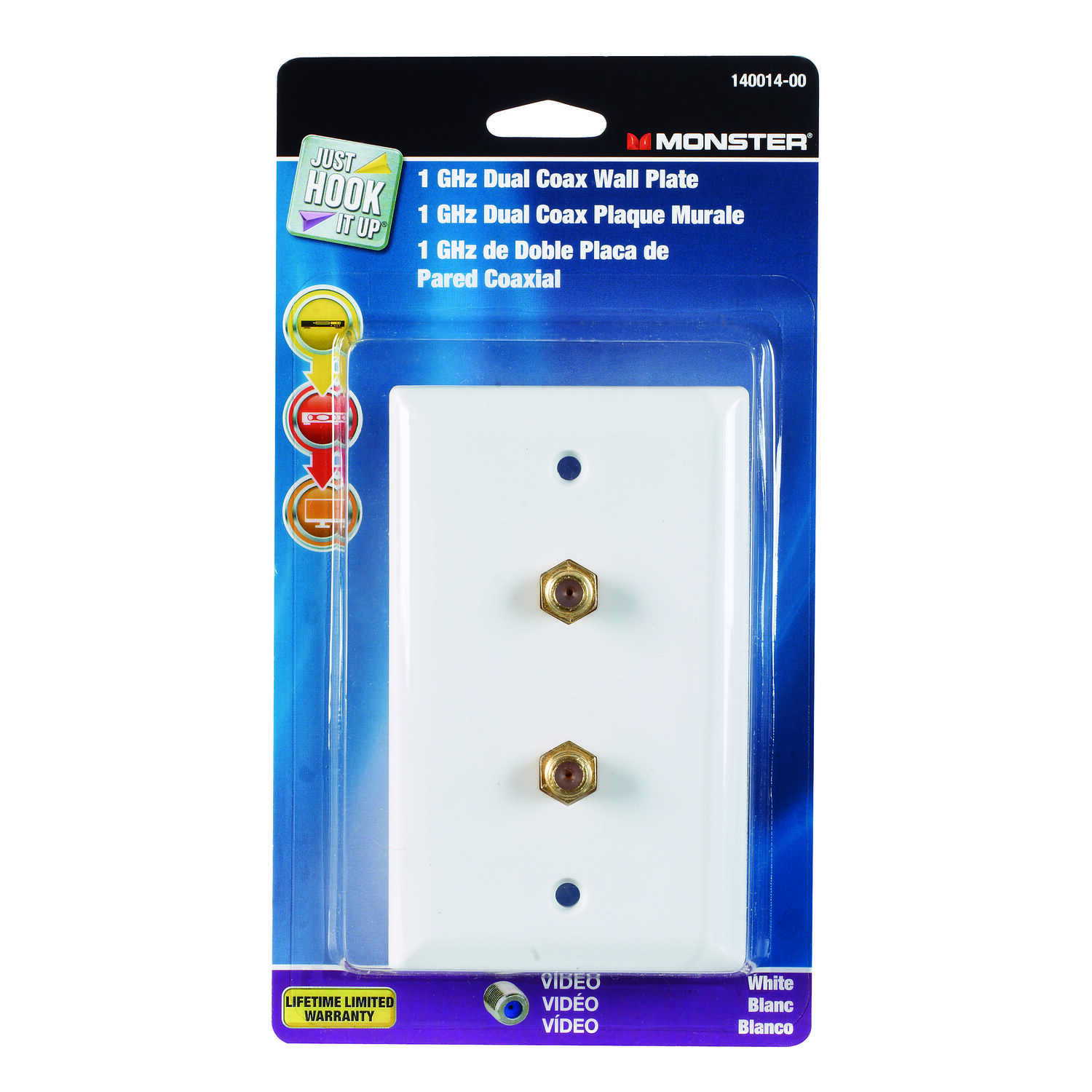 Monster Cable  Just Hook It Up  White  1 gang Plastic  Coaxial  Wall Plate