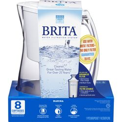 Brita  8 - 8  White  Marina Pitcher
