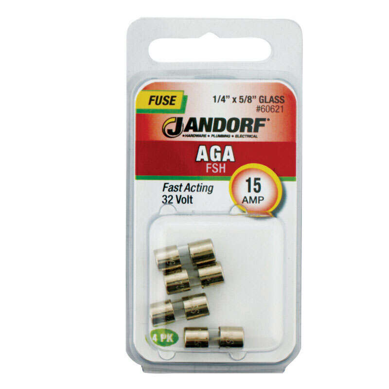 Jandorf  AGA  15 amps 32 volts Glass  Fast Acting Fuse  4 pk