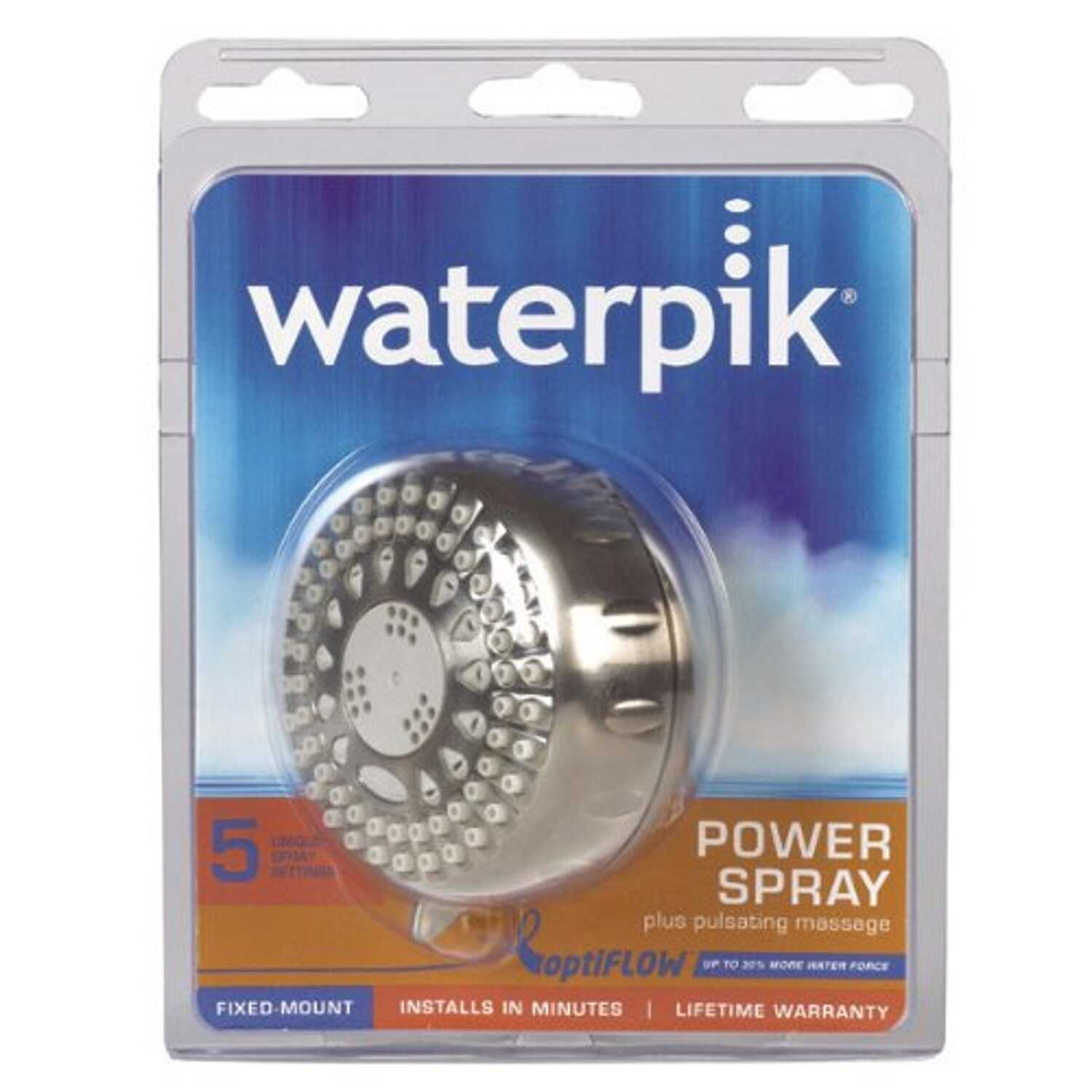 Waterpik  PowerSpray Plus  Brushed Nickel  5 settings Showerhead  1.8 gpm