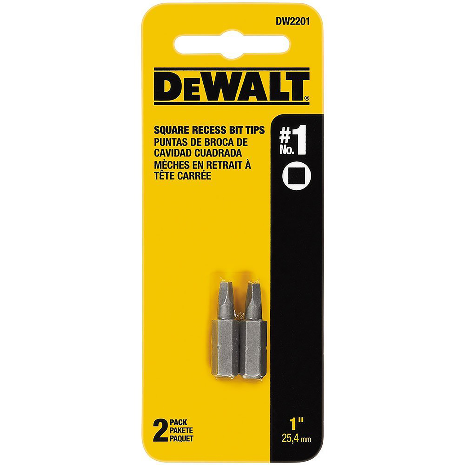 DeWalt  1 in. L x #1   Screwdriver Bit  Heat-Treated Steel  2 pc. 1/4 in. Square Recess