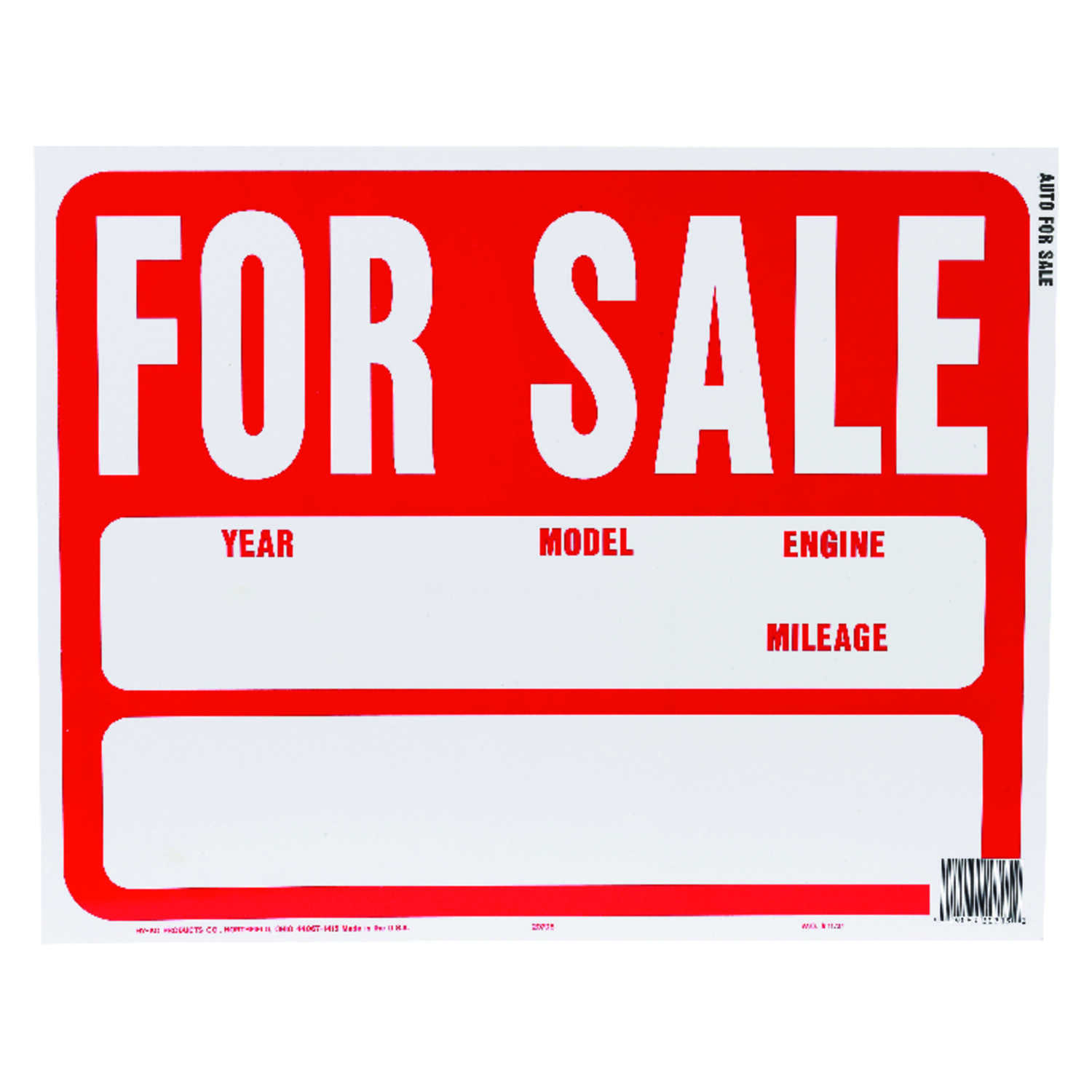 Hy-Ko  English  For Sale (Auto)  Sign  Plastic  15 in. H x 19 in. W
