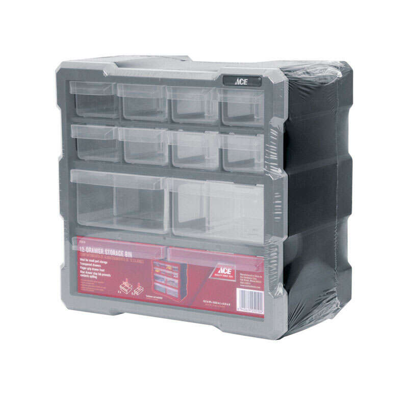 Ace  6-1/4 in. L x 10-9/16 in. W x 10 in. H Storage Organizer  Plastic  12 compartments Gray