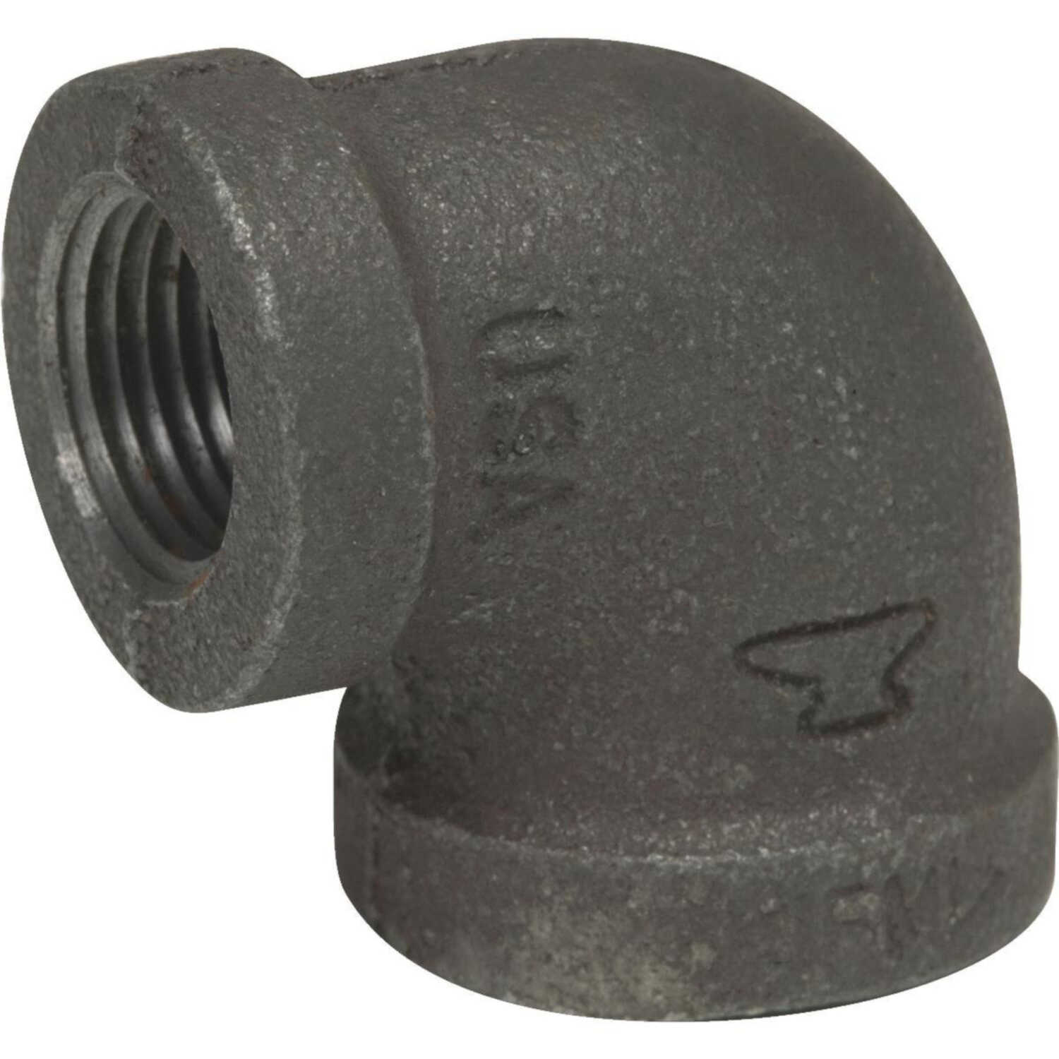 Anvil  1/2 in. FPT   x 3/8 in. Dia. FPT  Black  Malleable Iron  Elbow
