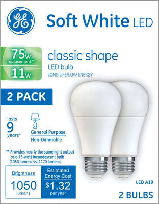 GE  A19  E26 (Medium)  LED Bulb  Soft White  75 Watt Equivalence 2 pk