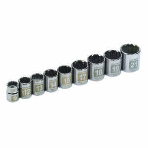 Craftsman  Assorted mm  x 3/8 in. drive  Metric  12 Point Socket Set  9 pc.
