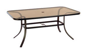 Living Accents  Glass Top  Brown  Heritage  Rectangular  Dining Table