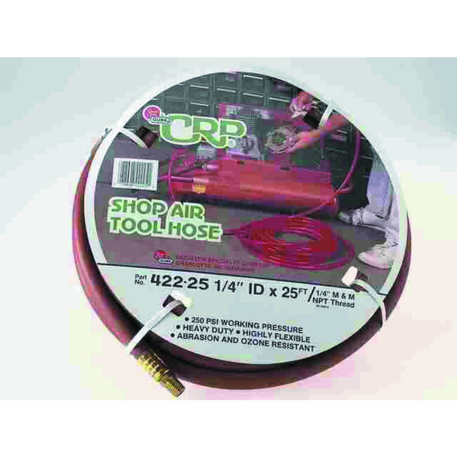Thermoid  25 ft. L x 1/4 in.  Shop Air Tool Hose  EPDM Rubber  250 psi Red