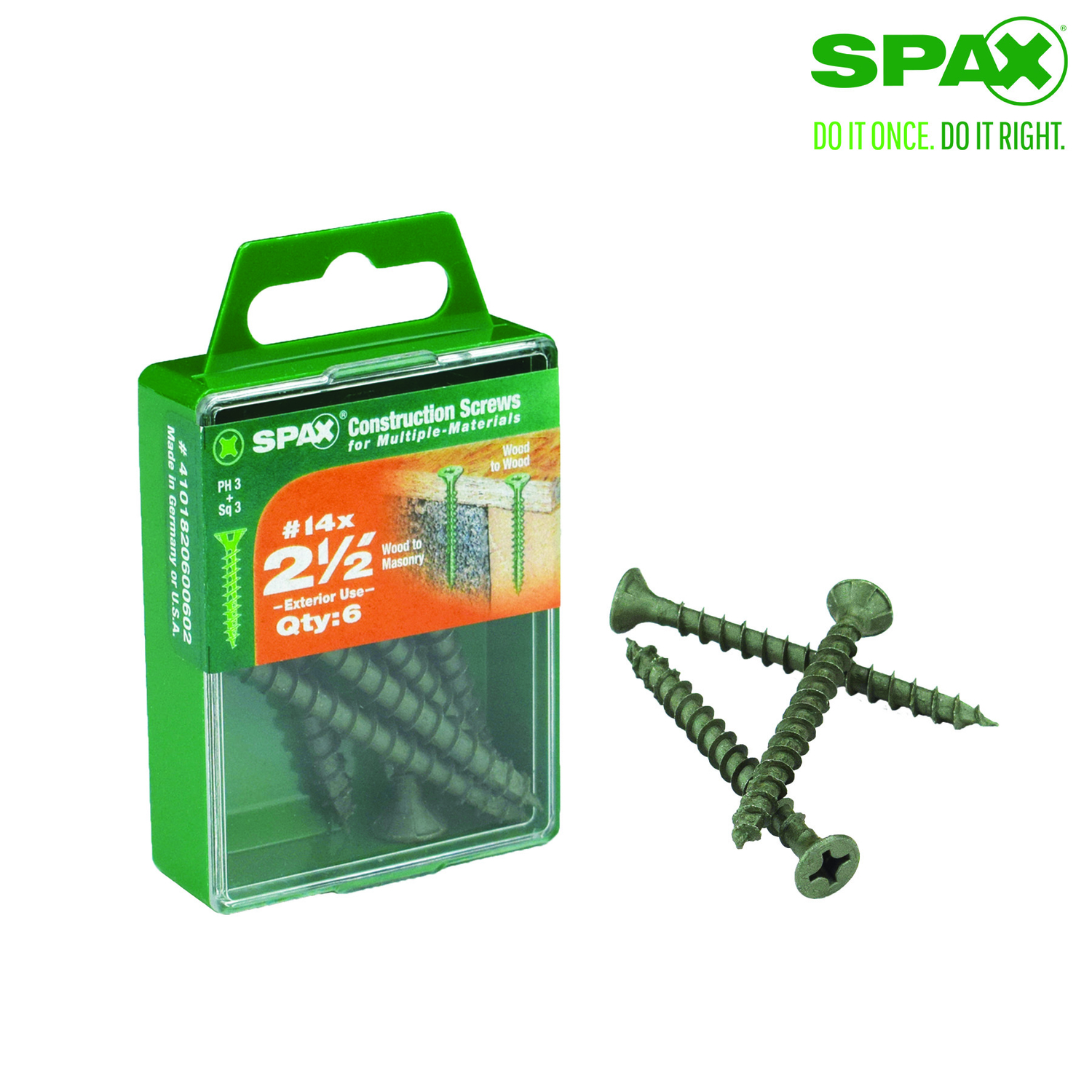SPAX  No. 14   x 2-1/2 in. L Phillips/Square  Flat  High Corrosion Resistant  Steel  Multi-Purpose S