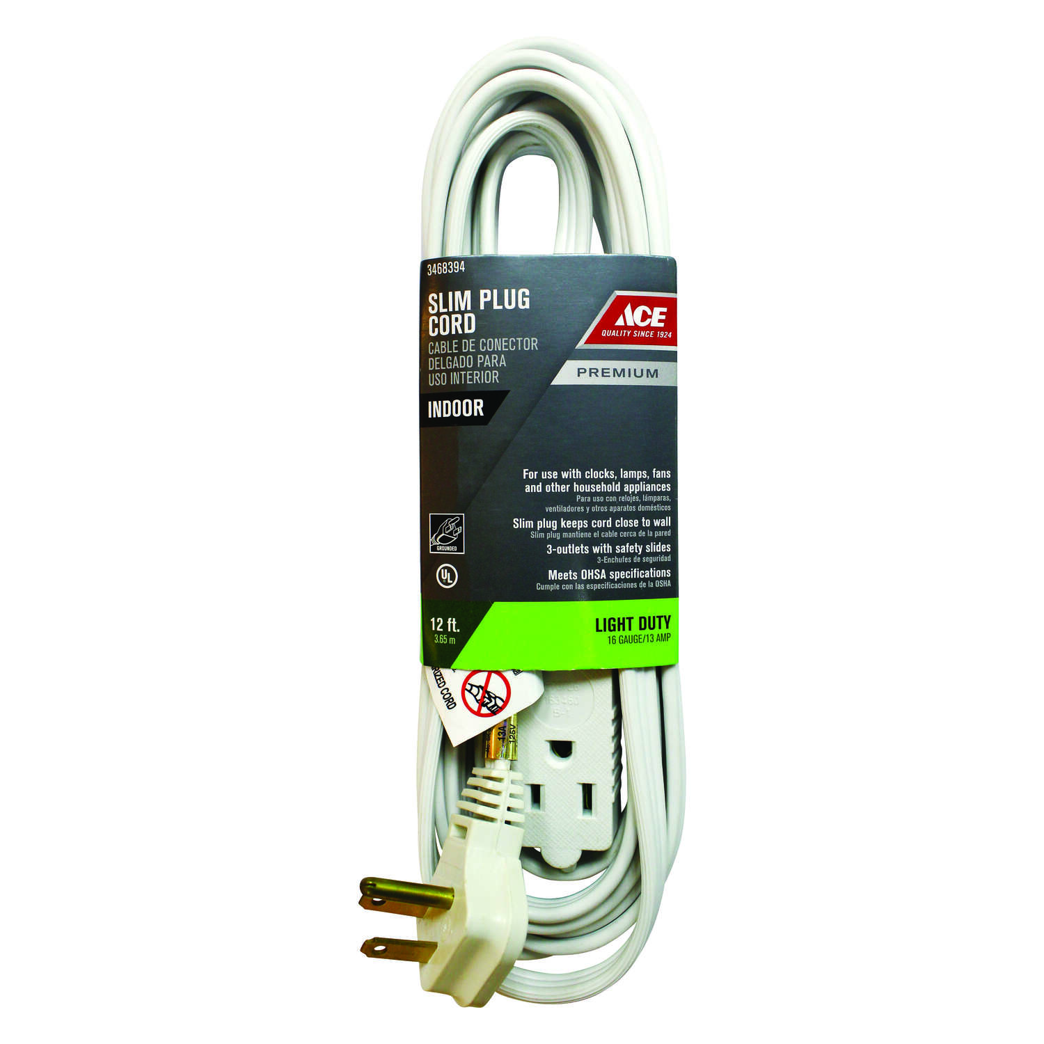 Ace  Indoor  12 ft. L White  Extension Cord  16/3 STP-3