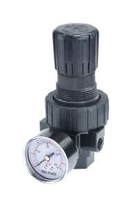 Tru-Flate  Plastic/Steel  Compact Regulator with Gauge  3/8  NPTF  1 pc.
