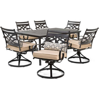 Hanover  Montclair  7 pc. Java  Steel  Dining Patio Set  Country Cork