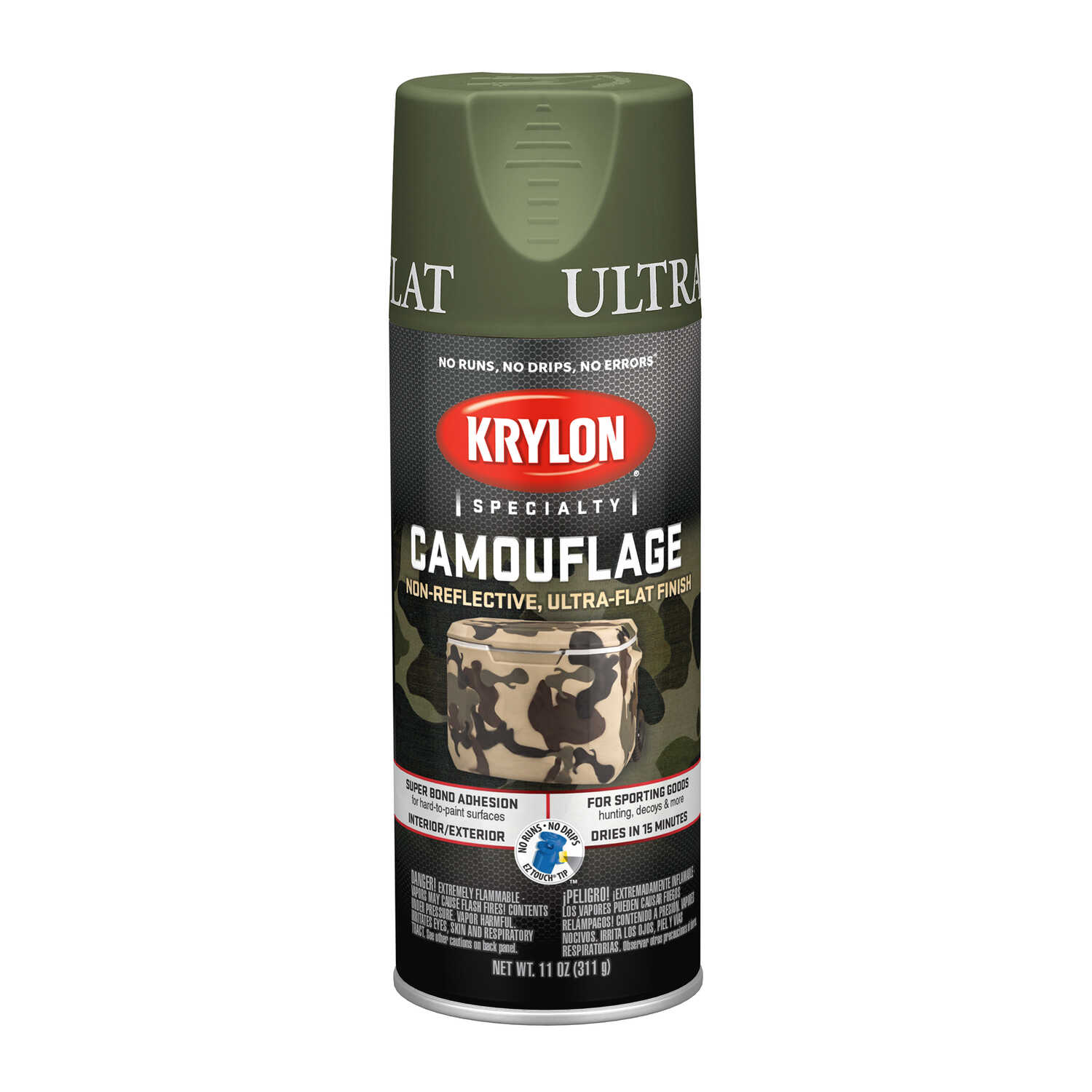 Krylon  Flat  Camouflage Spray Paint  11 oz. Woodland Light Green