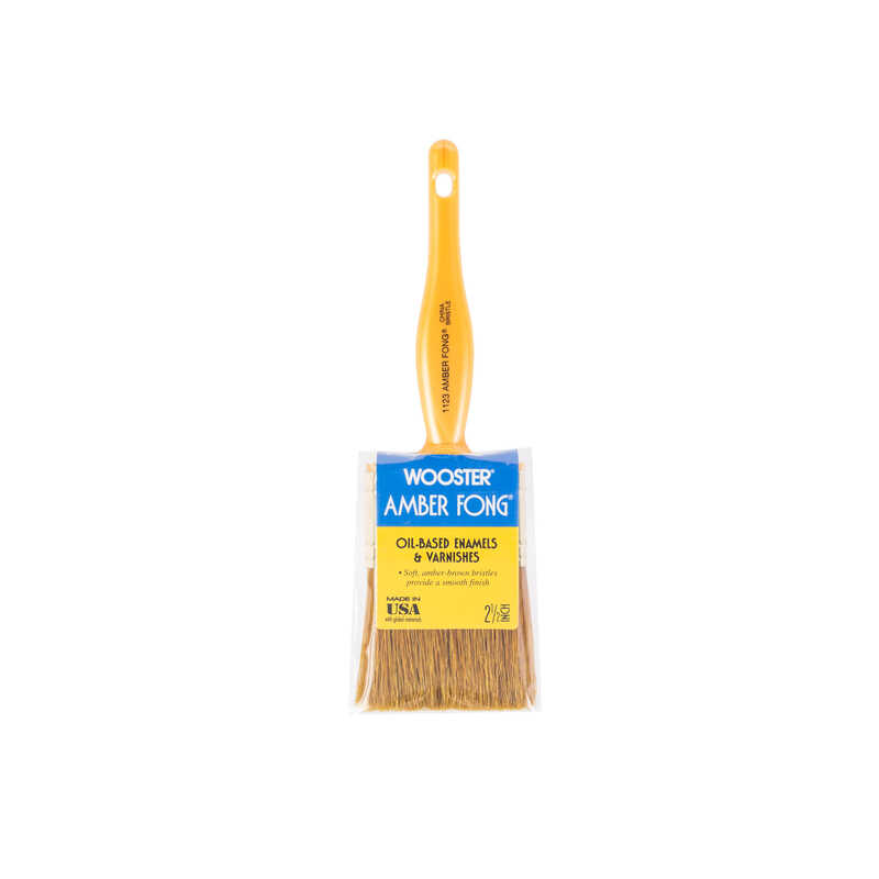 Wooster  Amber Fong  2-1/2 in. W Flat  Brown China Bristle  Oil-Based Paint Brush