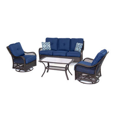 Hanover Orleans Orleans 4 pc. Brown Resin Patio Set Blue