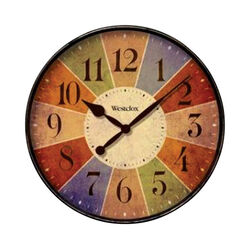 Westclox  12 in. L x 12 in. W Indoor  Casual  Analog  Wall Clock  Glass/Plastic  Multicolored