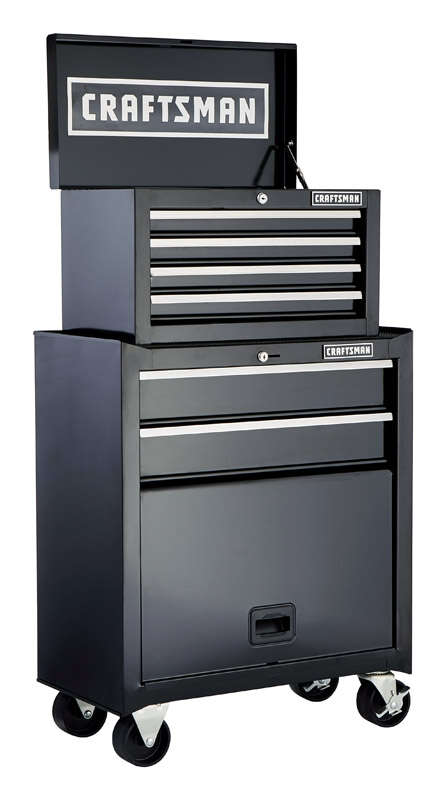Craftsman  26.5 in. 14 in. D x 44.25 in. H Steel  Rolling Tool Cabinet  6 drawer Black