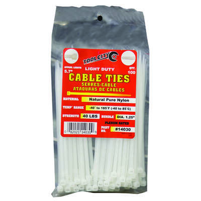 Tool City  5.7 in. L White  Cable Tie  100 pk