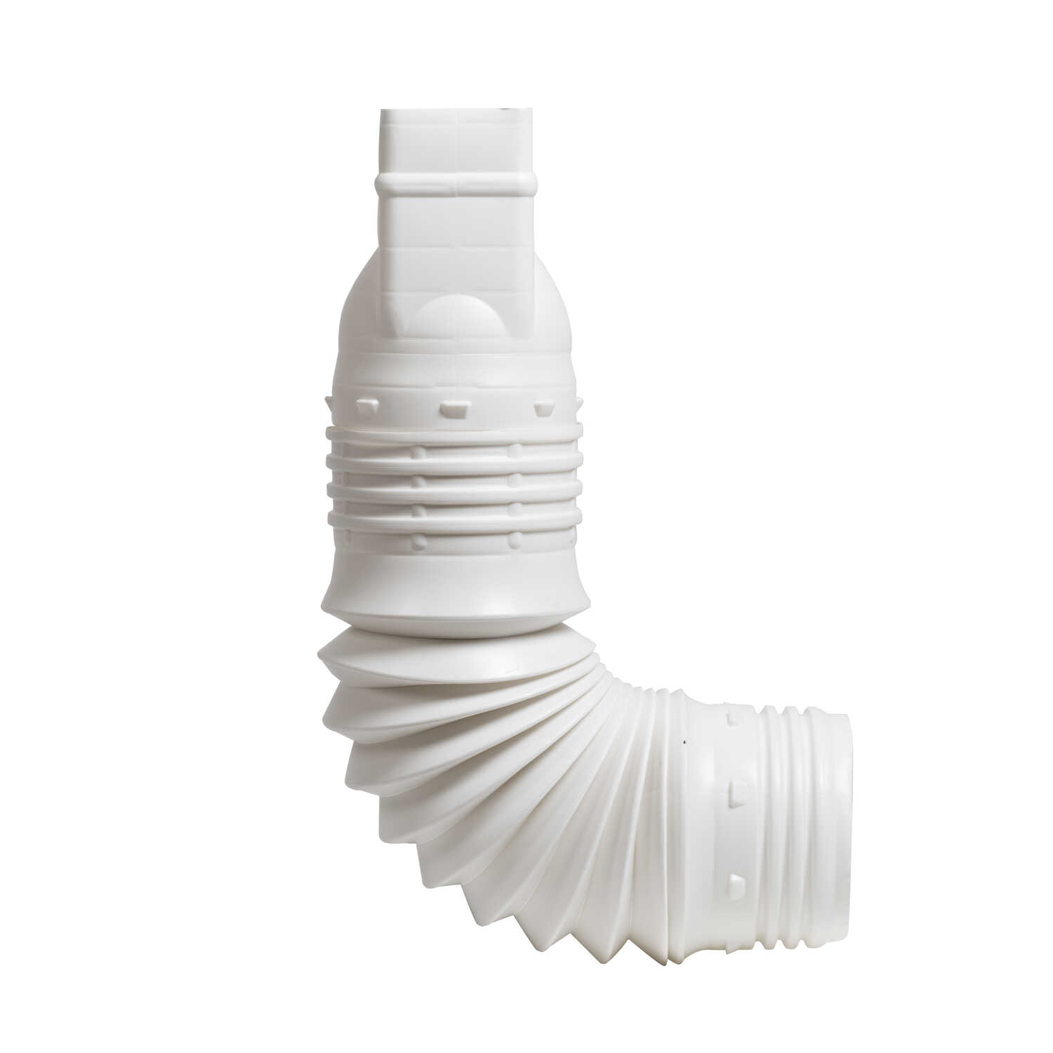 Flex-A-Spout  3.75 in. H x 4 in. W x 9 in. L Plastic  Flexible Downspout Extension  White