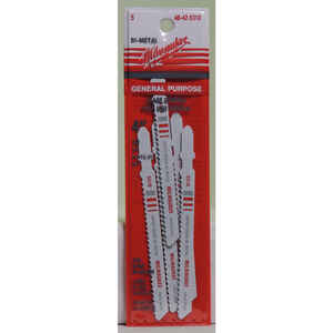 Milwaukee  4 in. Bi-Metal  T-Shank  Embedded cutting  Jig Saw Blade  10 TPI 5 pk