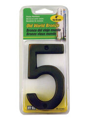 Hy-Ko 4 in. Bronze Brass Nail-On Number 5 1 pc.