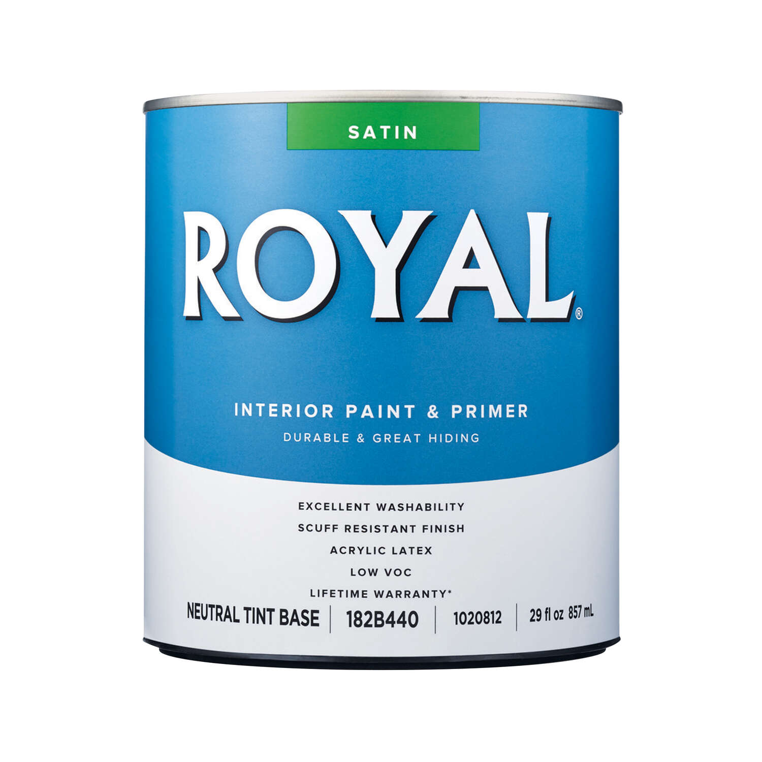Royal  Satin  Tint Base  Neutral Base  Acrylic Latex  Paint  Interior  1 qt.