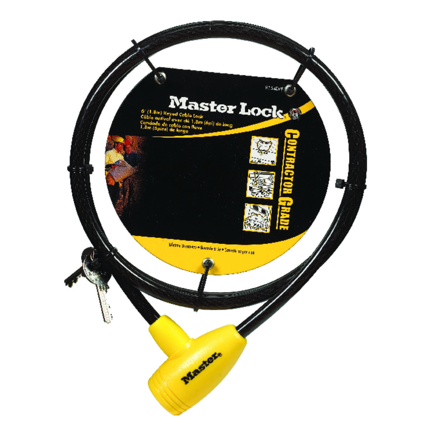 Master Lock  3/8 in. W x 6 ft. L Vinyl Covered Steel  Pin Tumbler  Locking Cable  1 each